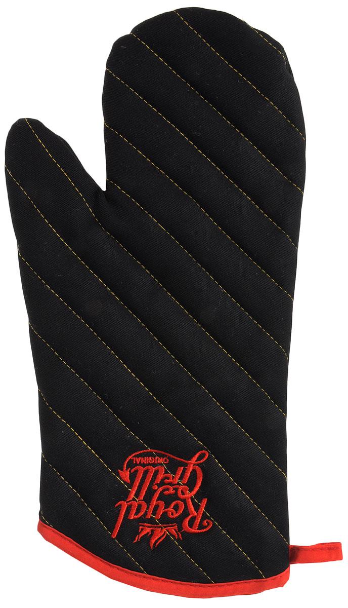Рукавица RoyalGrill для гриля, цвет: черный, размер: 33,5 х 17 см80-073Рукавица RoyalGrill для гриля, изготовлена из 100% хлопчатобумажной ткани, внутренний слой - из синтепона. Имеет простеганную поверхность с двух сторон. Идеально подходит для приготовление блюд на гриле и барбекю, а также для готовки дома. Для простоты и удобства хранения изделие оснащено петелькой для подвешивания. Такая прихватка защитит ваши руки от высоких температур и предотвратит появление ожогов. Размер изделия (ДхШ): 33.5 х 17 см.