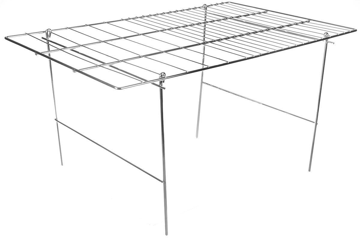 Решетка-гриль RoyalGrill Оптимум для мангала, раскладная, 29 x 49,5 см80-035Решетка-гриль для мангала предназначена для приготовления мяса, птицы, рыбы, овощей на углях. Коррозионностойкое покрытие обеспечивает долгий срок службы решетки. Толщина прутьев позволяет расположить на решетке чайник или кастрюлю. Ручки решетки позволяют задействовать всю рабочую поверхность решетки.