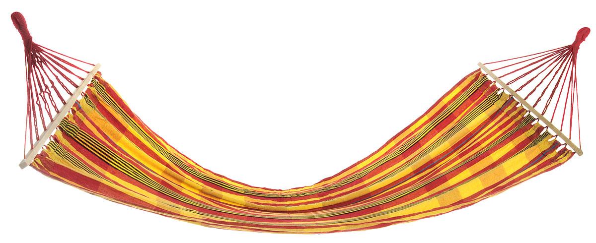 Гамак Happy Camper c деревянной планкой, цвет: желтый, красный, черныйG-1Y-71331Легкий, прочный и компактный одноместный гамак внесет дополнительный комфорт в ваш отдых на даче, в походе или на пикнике. Отверстия для крепления обшиты, что придает дополнительную прочность. Для хранения гамака в собранном виде к нему прилагается чехол. Максимальная нагрузка: 120 кг. Размер деревянной планки: 80 х 2 х 3 см.