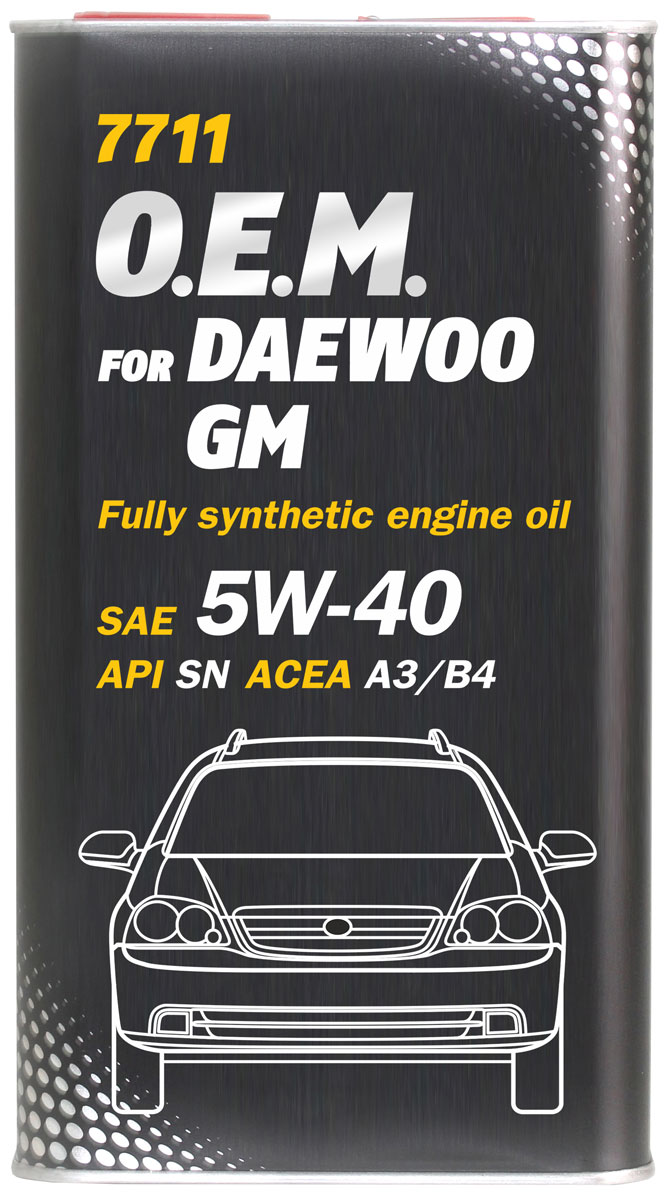 Моторное масло MANNOL 7711 O.E.M., для Daewoo и GM, 5W-40, синтетическое, 1 л4055Моторное масло MANNOL 7711 O.E.M. - синтетическое всесезонное моторное масло, предназначенное для использования в современных бензиновых и дизельных двигателях автомобилей DAEWOO, UZ-DAEWOO, GM. Высококачественная основа масла обеспечивает отличные низкотемпературные характеристики, гарантируя легкий холодный пуск и надежную защиту от износа. Обладает высокими антиокислительными свойствами и превосходными моюще-диспергирующими характеристиками, что предупреждает образование отложений и поддерживает исключительную чистоту деталей двигателя. Создано с учетом требований для эксплуатации в тяжелых условиях и увеличенных интервалов техобслуживания. Продукт имеет допуски / соответствует спецификациям / продуктам:SAE 5W-40API SNACEA A3/B4MB 229.3PORSCHE A40VW 502.00/505.00OPEL GM-LL-A/B-025RENAULT RN 0700/0710DAEWOO UZ-DAEWOO GM