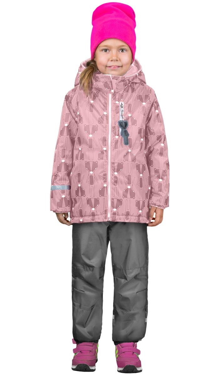 Комплект верхней одежды для девочки Boom!: куртка, брюки, цвет: розовый, серый. 70322_BOG_вар.1. Размер 116, 5-6 лет70322_BOG_вар.1Комплект для девочки Boom! включает в себя куртку и брюки. Куртка с длинными рукавами и капюшоном выполнена из прочного полиэстера и имеет подкладку из полиэстера и флиса. Модель застегивается на застежку-молнию спереди и оформлено принтом. Куртка имеет два прорезных кармана спереди и один карман на застежке - молнии. Теплые брюки на талии дополнены широкой эластичной резинкой. Комплект дополнен светоотражающими элементами.