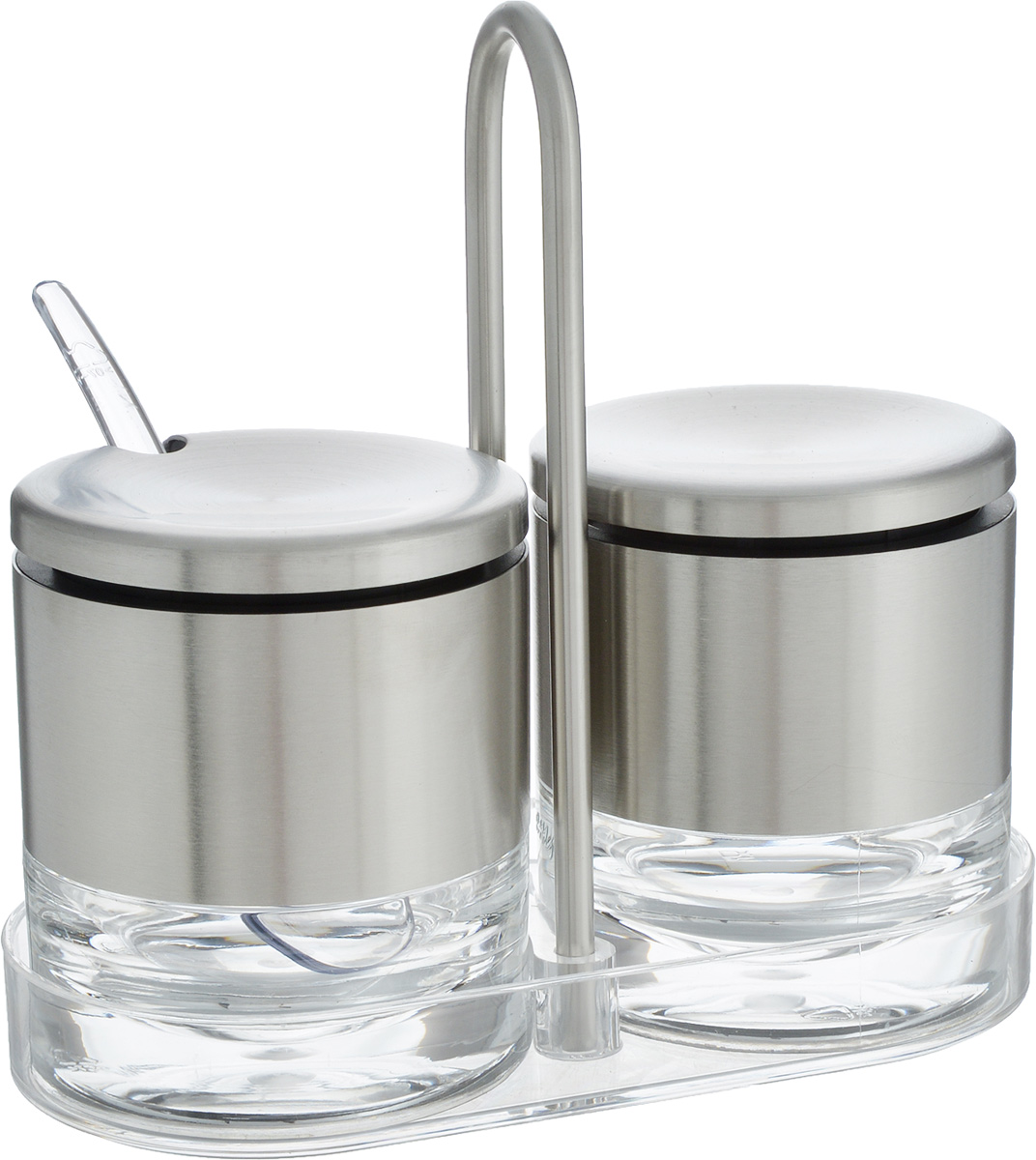 Набор Emsa Accenta, для сливок и сахара, 4 предмета504675Набор Emsa Accenta изготовлен из стекла, пластика и нержавеющей стали. Он состоит из двух емкостей: для сливок и сахара, а так же подставки и чайной ложки. Такой набор отлично впишется в любой интерьер.Размер емкости: 7 х 7 х 8 см.Длина ложки: 12 см.Размер подставки: 15 х 7,5 х 14 см.