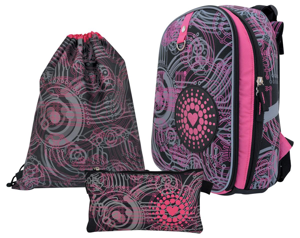 Action! Сумка для сменной обуви Алиса цвет розовыйAZ-ASB4614/3Лицензионный дизайн АЛИСА знает, что делать. Для девочек. Рюкзак школьный с анатомический рельефной спинкой, с многоуровневой системой регулировки задней спинки. Рюкзак комплектуется мешком для обуви 43 х 34 см и пеналом без наполнения 21 x 7 x 7 см. Жесткая эргономичная форма с регулировкой уровня спинки , размер 40 х 28 х 15 см. Прочный корпус из жесткого материала. 2 больших внутренних отделения, внутри которых есть отдельное отделение, которое удерживается липучкой, сетчатое отделение, небольшие отделения для письменных принадлежностей, телефона и других мелочей, многоуровневая система регулировки задних лямок в зависимости от роста человека. Светоотражательная полоска безопасности по всему периметру лицевой стороны светоотражатели по бокам и на задних лямках. Верхняя ручка оснащена резиновой насадкой для удобства носки. Дно имеет 2 резиновые накладки для защиты от грязи , воды и т.д. Вес рюкзака составляет меньше 900 г, что соответствует идеальным нормам нагрузки на спину для ученика средней школы.