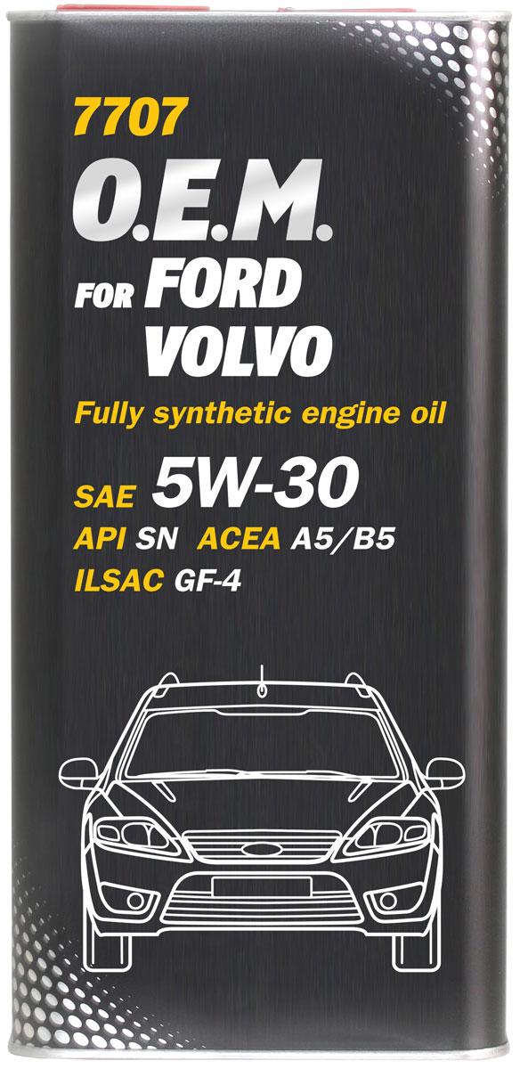 Моторное масло MANNOL 7707 O.E.M., для Ford и Volvo, 5W-30, синтетическое, 1 л4053Моторное масло MANNOL 7707 O.E.M. - синтетическое энергосберегающее моторное масло, специально разработанное для использования в автомобилях FORD и VOLVO. Создано с учетом соответствия последним техническим требованиям бензиновых и современных дизельных двигателей, в которых предусмотрено использование масел стандарта ACEA A5/B5. Обладает высокими антиокислительными свойствами и превосходными моюще-диспергирующими характеристиками, что предупреждает образование отложений и поддерживает исключительную чистоту деталей двигателя. Обеспечивает легкий пуск двигателя при низких температурах. Разработано с учетом требований для эксплуатации в тяжелых условиях и увеличенных интервалов техобслуживания. Продукт имеет допуски / соответствует спецификациям / продуктам:SAE 5W-30API SNACEA A5/B5ILSAC GF-4FORD WSS-M2C913-COPEL GM LL-A-025/B-025