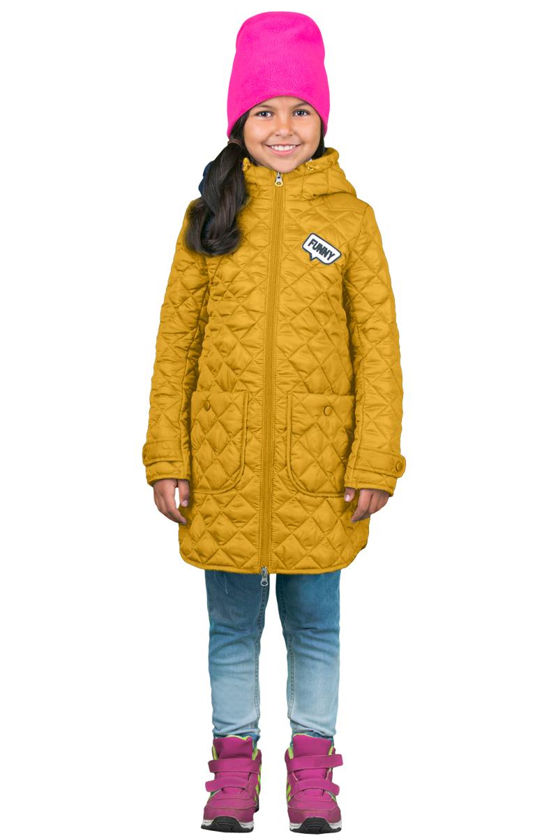 Пальто для девочки Boom!, цвет: желтый. 70326_BOG_вар.2. Размер 104, 3-4 года70326_BOG_вар.2Пальто для девочки Boom! c капюшоном и длинными рукавами выполнено из прочного полиэстера. Модель застегивается на застежку-молнию спереди. Объем капюшона регулируется при помощи шнурка-кулиски со стопперами. Изделие дополнено двумя накладными карманами на кнопках. Манжеты рукавов дополнены хлястиками с застежками-кнопками. Нижняя часть спинки оформлена фирменной нашивкой. Пальто дополнено спереди аппликацией.