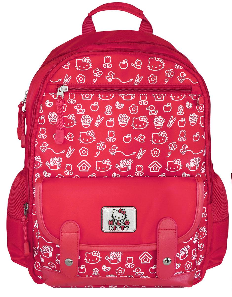 Action! Рюкзак Hello Kitty цвет красныйHKO-ASB4008/1Рюкзак Action! Hello Kitty выполнен из плотного полиэстера с декоративными элементами из искусственной кожи. У рюкзака уплотненная спинка с рельефными вставками, повторяющими контур спины, покрыта вентилируемым сетчатым материалом. Для удобства ношения и распределения нагрузки имеется нагрудный регулируемый ремень.Рюкзак имеет два отделения. Внутри основного отделения имеется разделитель для книг и тетрадей, который удерживается при помощи резинки. Внутри второго отделения имеется органайзер для письменных принадлежностей, телефона и других мелочей.На лицевой стороне, в верхней части имеется карман на молнии и в нижней части имеется накладной карман с клапаном, который закрывается на две кнопки. По бокам имеются карманы. Светоотражающие элементы обеспечивают безопасность ребенка в темное время суток.