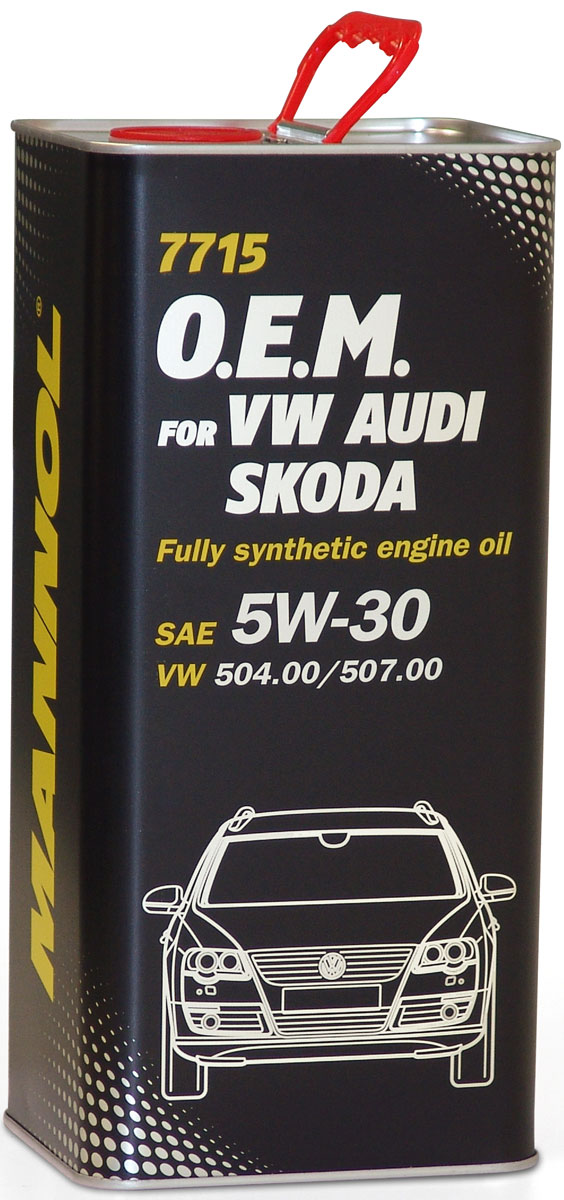 Моторное масло MANNOL 7715 O.E.M., 5W-30, синтетическое, 5 л4035Моторное масло MANNOL 7715 O.E.M. - синтетическое моторное масло нового поколения, специально разработанное для использования во всех бензиновых и дизельных двигателях автомобилей Volkswagen, Audi, Skoda, Seat. Высокотехнологичный пакет присадок (low SAPS - низкое содержание серы, золы и фосфора) обеспечивает оптимальную работу систем защиты окружающей среды, а также фильтров твердых частиц (DPF). Эффективно защищает от износа и обеспечивает исключительную чистоту деталей двигателя. Рекомендовано для любых современных бензиновых и дизельных двигателей, в том числе отвечающих экологическим нормам Euro 4 и Euro 5. Может использоваться во всех двигателях, требующих использования масла, соответствующего нормам VW, предшествующих 502 00, 505 00, 505 01, 503 00, 503 01, 506 00, 506 01. Применяется в двигателях с увеличенным (до 30 000 км) межсервисным интервалом замены масла и без него. Продукт имеет допуски / соответствует спецификациям / продуктам:SAE 5W-30API SN/CFACEA C3BMW Longlife-04MB 229.51GM dexos2VW 504.00/507.00/