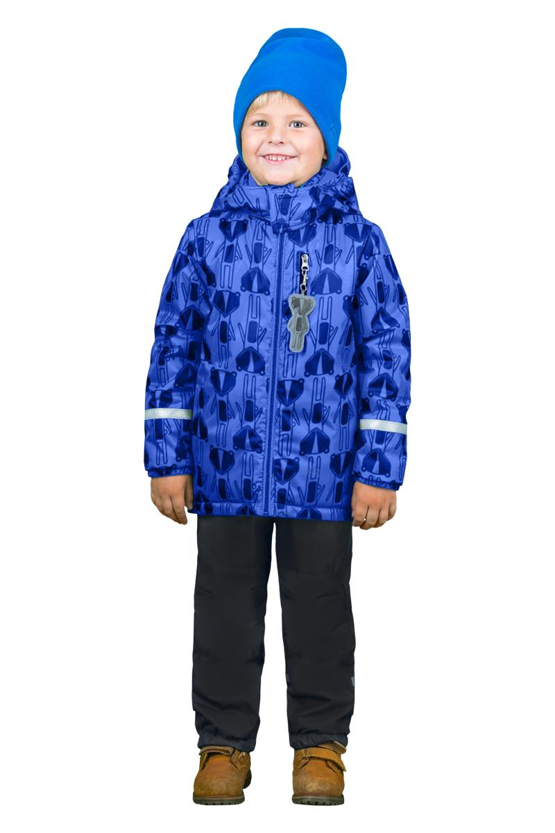Комплект верхней одежды для мальчика Boom!: куртка, брюки, цвет: синий, черный. 70335_BOB_вар.2. Размер 110, 5-6 лет70335_BOB_вар.2Комплект верхней одежды для мальчика Boom! состоит из куртки и брюк. Комплект выполнен из полиэстера. Куртка с капюшоном застегивается спереди на молнию и оформлена принтом. На рукавах предусмотрены эластичные резинки. Спереди расположен прорезной карман на застежке-молнии. Теплые брюки дополнены на талии широкой резинкой. Комплект снабжен светоотражающими элементами.