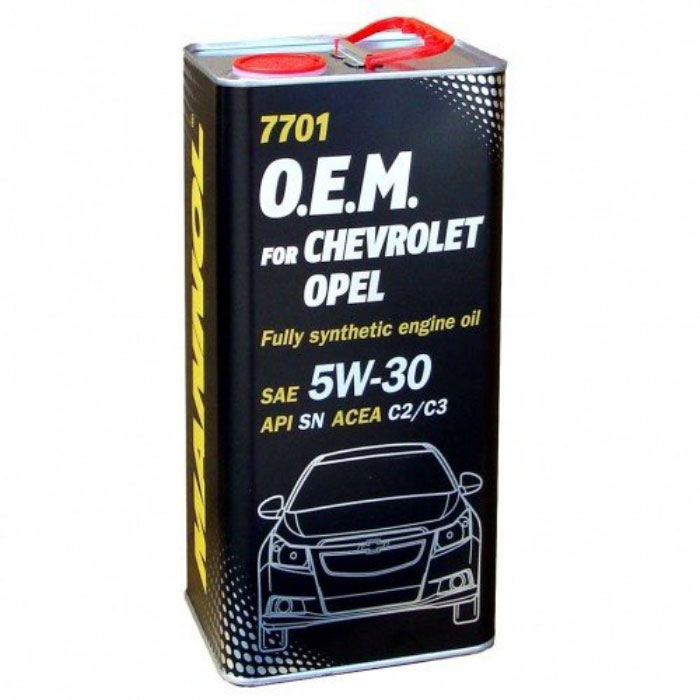 Моторное масло MANNOL 7701 O.E.M., для Chevrolet и Opel, 5W-30, синтетическое, 4 л4038Моторное масло MANNOL 7701 O.E.M. - синтетическое энергосберегающее моторное масло, специально разработанное для использования в современных бензиновых и дизельных двигателях автомобилей OPEL, CHEVROLET, DAEWOO, GM, SAAB. Малозольный пакет присадок (MID SAPS) обеспечивает надежную работу дизельных сажевых фильтров (DPF), а также каталитических нейтрализаторов бензиновых двигателей (CAT). Эффективно защищает от износа и обеспечивает исключительную чистоту деталей. Рекомендуется для двигателей, в которых предусмотрено использование масел стандарта GM dexos2, а также более ранних спецификаций GM LL A025/B025. Создано с учетом требований для эксплуатации в тяжелых условиях и увеличенных интервалов техобслуживания. Продукт имеет допуски / соответствует спецификациям / продуктам: SAE 5W-30API SNACEA C2/C3GM dexos2