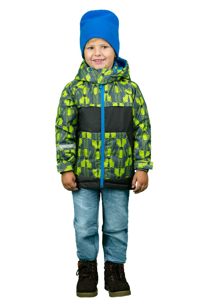 Куртка для мальчика Boom!, цвет: серый, салатовый. 70339_BOB_вар.1. Размер 110, 5-6 лет70339_BOB_вар.1Яркая куртка для мальчика Boom! выполнена из полиэстера и дополнена мягкой и теплой подкладкой с добавлением флиса. Куртка с воротником-стойкой застегивается на удобную застежку-молнию. Капюшон в объеме регулируется при помощи скрытого эластичного шнурка со стопперами. Рукава оснащены широкими эластичными резинками, не стягивающими запястья, и хлястиками на липучках. По бокам куртка дополнена двумя кармашками. Куртка оформлена принтоми дополнена светоотражающим элементом на рукаве.
