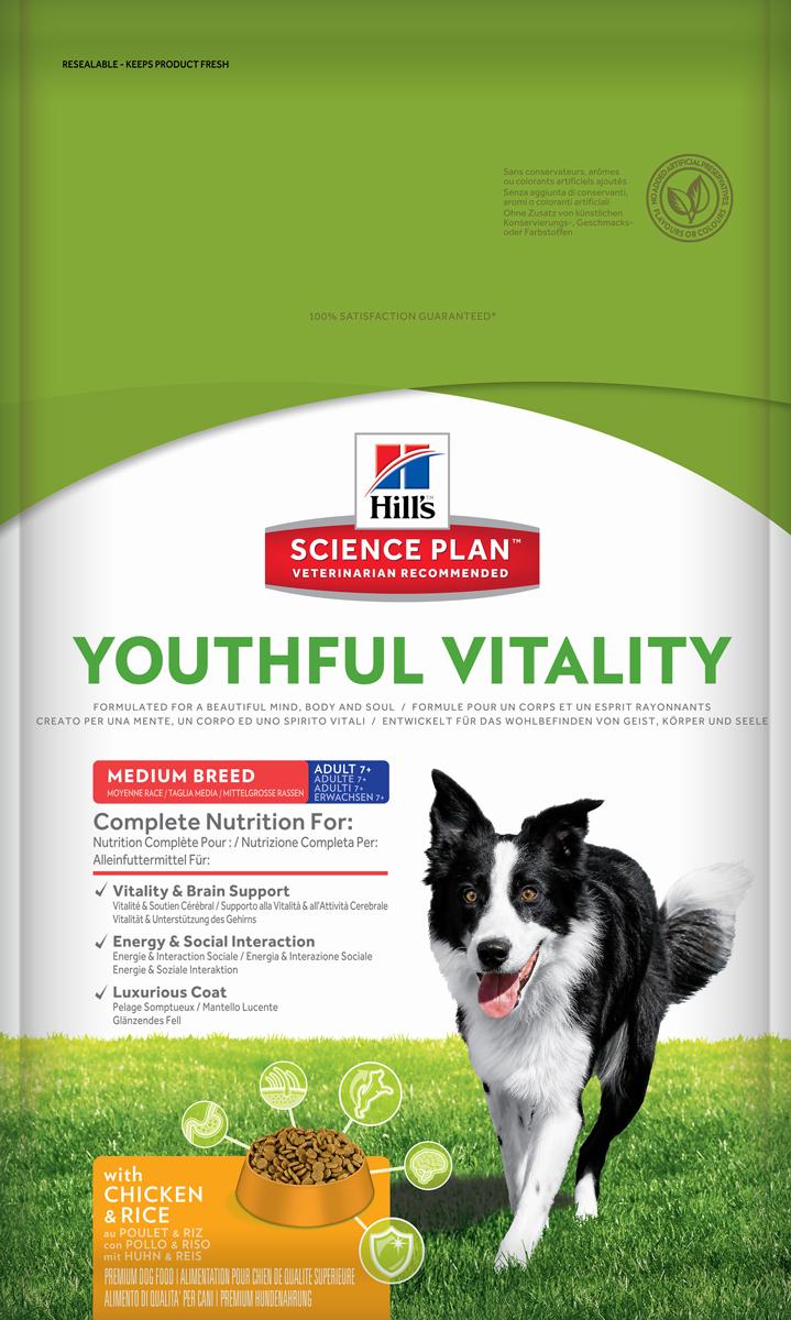 Корм сухой Hills Youthful Vitality, для пожилых собак старше 7 лет средних пород, с курицей и рисом, 10 кг10989Полноценное повседневное питание, разработанное на основе достижений науки и соответствующее возрасту, размеру породы вашего питомца и его индивидуальным особенностям.Каждая гранула рационов Hill's Science Plan содержит необходимый набор нутриентов, способных улучшить жизнь питомца и сделать его здоровым и счастливым на долгие годы.- Гарантия 100% качества, консистенции и вкуса.- Содержит клинически подтвержденные антиоксиданты, которые нейтрализуют свободные радикалы и поддерживают иммунитет.- Изготовлено из высококачественных натуральных ингредиентов.- Не содержит искусственных красителей, ароматизаторов и консервантов.- Превосходный вкус, который понравится вашему питомцу.Изготовлен в Европе. Science Plan Youthful Vitality разработан с применением передовых технологий науки о питании, рацион, помогающий бороться с признаками старения вашей собаки в возрасте старше 7 лет. Инновационная запатентованная рецептура с жирными кислотами и антиоксидантами, включая витамины С + Е, позволяет противостоять процессам старения на клеточном уровне. Уже более десяти лет в Хиллс Пет Нутришн изучают влияние питания на функции клеток домашних животных и установили, что процесс старения сложен и включает совокупность факторов, приводящих к снижению физических и умственных способностей животных. Сбалансированное питание поддерживает питомцев и их клетки в процессе старения. Ключевые преимущества рациона. Инновационная запатентованная формула Science Plan Youthful Vitality разработана с использованием ингредиентов, помогающих поддерживать: - Активность функции головного мозга.- Энергию и активность.- Роскошную шерсть. - Здоровье иммунной системы.- Здоровье пищеварительной системы.- Поддержка суставов и подвижности.Показания. Собакам мелких, миниатюрных и средних пород (весом менее 25кг), предпочитающих гранулы маленького размера в возрасте старше 7 лет.Противопоказания. Не р