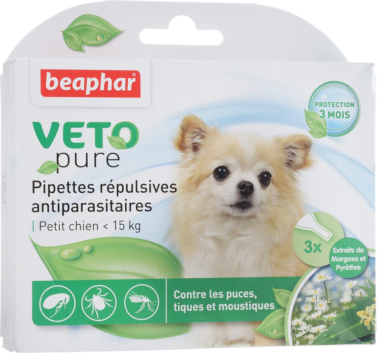 Капли от блох и клещей  Beaphar , для собак мелких пород, 3 шт х 1 мл