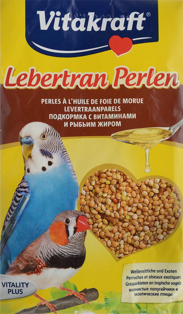 Подкормка для волнистых попугаев Vitakraft Lebertran-Perlen, с витаминами и рыбьим жиром, 20 г vitakraft корм для волнистых попугаев vitakraft menu vital 500 г