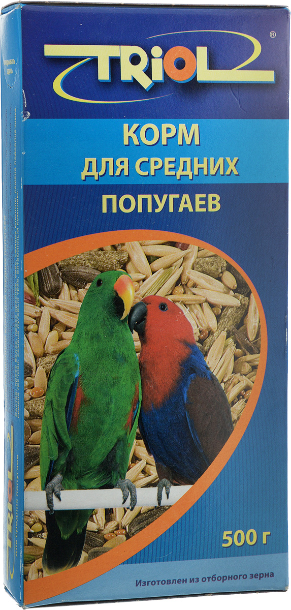 Корм для средних попугаев Triol, 500 гКф-00300Корм для средних попугаев Triol специально составлен из самых вкусных и необходимых компонентов, он содержит много волокон, что положительно влияет на пищеварение и здоровье вашего питомца. Правильно сбалансированный корм поможет вам вырастить здоровых, веселых и разговорчивых попугайчиков. Продукт не содержит искусственных добавок и красителей.Вес: 500 г.Товар сертифицирован.
