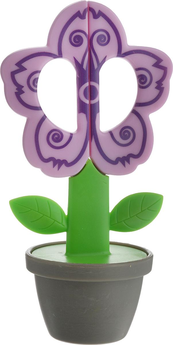 Ножницы детские Hemline Цветочный горшок, цвет: сиреневыйB4833_сиреневыйНожницы детские Hemline Цветочный горшок отлично подходят для детского творчества. Лезвия выполнены из металла, а рукоятки из пластика в виде цветка. Для хранения ножниц предусмотрена подставка-горшок. Ножницы предназначены для разрезания картона, бумаги, текстиля. Скругленные концы лезвий безопасны для детей. Оригинальный дизайн изделия в виде цветка в горшке вызовет интерес у ребенка и вовлечет его в процесс творчества. Длина ножниц: 15 см. Высота изделия (с горшком): 16 см.