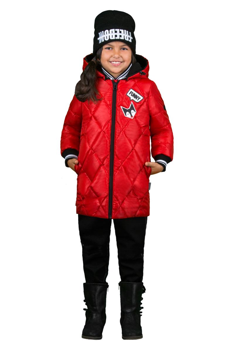 Комплект верхней одежды для девочки Boom!: куртка, брюки, цвет: красный, черный. 70349_BOG_вар.1. Размер 110, 5-6 лет70349_BOG_вар.1Комплект для девочки Boom! включает в себя куртку и брюки. Куртка с длинными рукавами и капюшоном выполнена из высококачественного материала и дополнена спереди аппликацией. Капюшон регулируется при помощи эластичного шнурка со стопперами. Рукава дополнены текстильной резинкой. Модель застегивается спереди на застежку-молнию. Изделие имеет два прорезных кармана спереди. Теплые брюки на талии дополнены широкой эластичной резинкой.