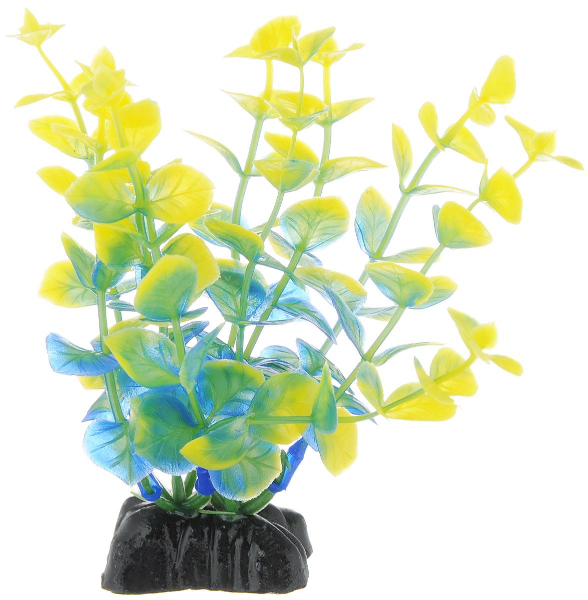 """Растение для аквариума Barbus """"Бакопа"""", пластиковое, цвет: синий, зеленый, желтый, высота 10 см"""