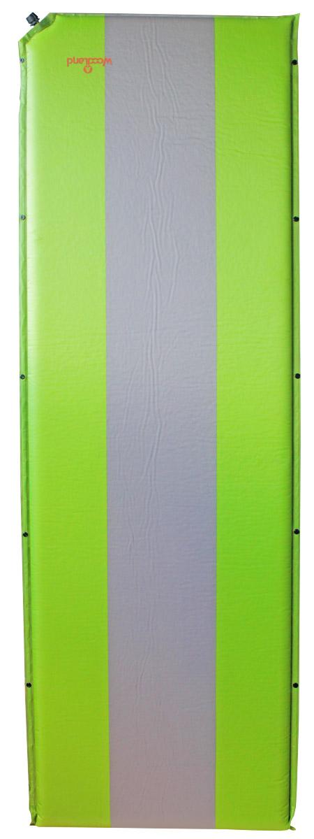 Коврик самонадувающийся Woodland Camping mat, цвет: зеленый, серый, 190 х 65 х 5 см