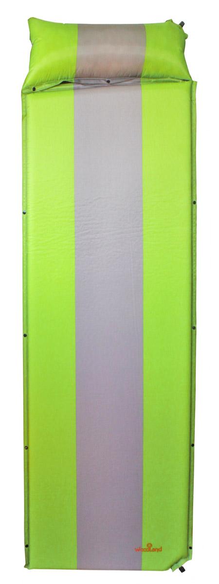 Коврик самонадувающийся Woodland  Camping mat+ , с подушкой, цвет: зеленый, серый , 170+30 х 65 х 4 см - Туристические коврики