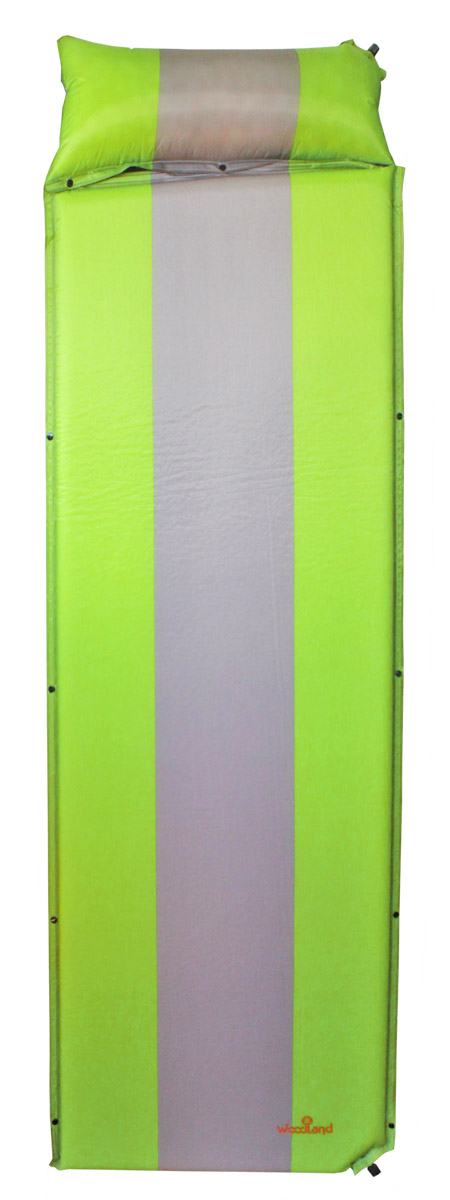 Коврик самонадувающийся Woodland Camping mat+, с подушкой, цвет: зеленый, серый , 170+30 х 65 х 4 см