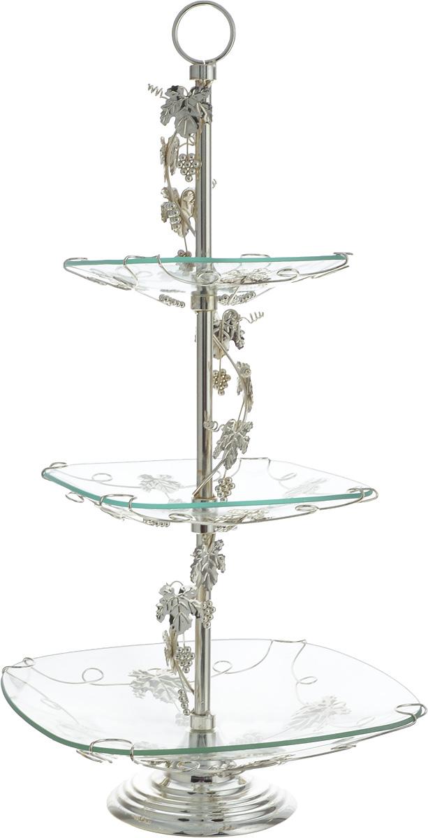 Конфетница Loraine Ванеса, 3-ярусная, высота 59 см51068B/Элегантная конфетница Loraine Ванеса, выполненная из стекла, сочетает в себе изысканный дизайн с максимальной функциональностью. Конфетница состоит из трех ярусов разного размера и предназначена для красивой сервировки конфет, фруктов и десертов. Ярусы конфетницы оформлены оригинальным орнаментом. Стойка-держатель конфетницы выполнен из стали с серебряным покрытием.Конфетница Loraine Ванеса украсит сервировку вашего стола и подчеркнет прекрасный вкус хозяина, а также станет отличным подарком.Размер большого яруса: 29,5 х 29,5 см. Размер среднего яруса: 21,5 х 21,5 см. Размер малого яруса: 18,5 х 18,5 см. Высота конфетницы (с учетом ручки): 59 см.