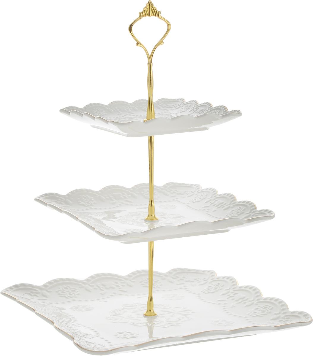 Конфетница Loraine Элис, 3-ярусная, высота 26 см. 26514РАД00000513_бирюзовый, светло-коричневыйЭлегантная конфетница Loraine Элис, выполненная из керамики, сочетает в себе изысканный дизайн с максимальной функциональностью. Конфетница состоит из 3-х ярусов разного размера и предназначена для красивой сервировки конфет, фруктов и десертов. Ярусы квадратной формы оформлены оригинальным рельефным орнаментом и золотистой окантовкой. Стойка-держатель конфетницы выполнена из металла.Конфетница Loraine Элис украсит сервировку вашего стола и подчеркнет прекрасный вкус хозяина, а также станет отличным подарком. Размер большого яруса: 26х 26 см.Размер среднего яруса: 20х 20 см.Диаметр малого яруса: 14,5х 14,5 см.Высота конфетницы: 26 см.