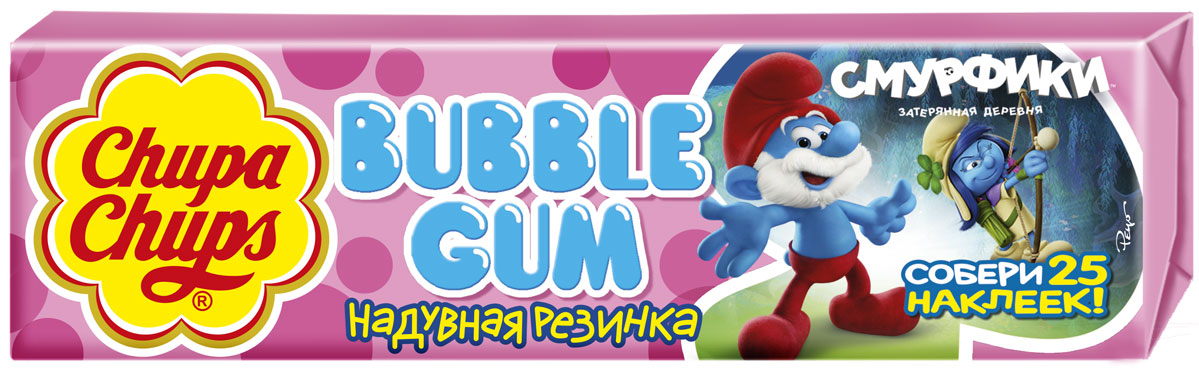 цены Chupa-Chups Bubble Gum Смурфики-3 жевательная резинка, 24 шт по 21 г