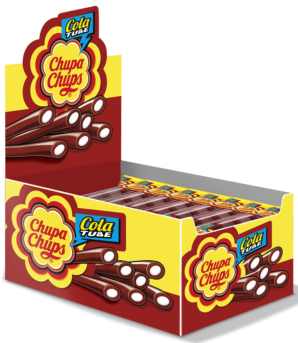 Chupa-Chups Cola Tube жевательный мармелад со вкусом колы, 50 шт по 10 г chupa chups xxl petit карамель ассорти 24 шт по 29 г