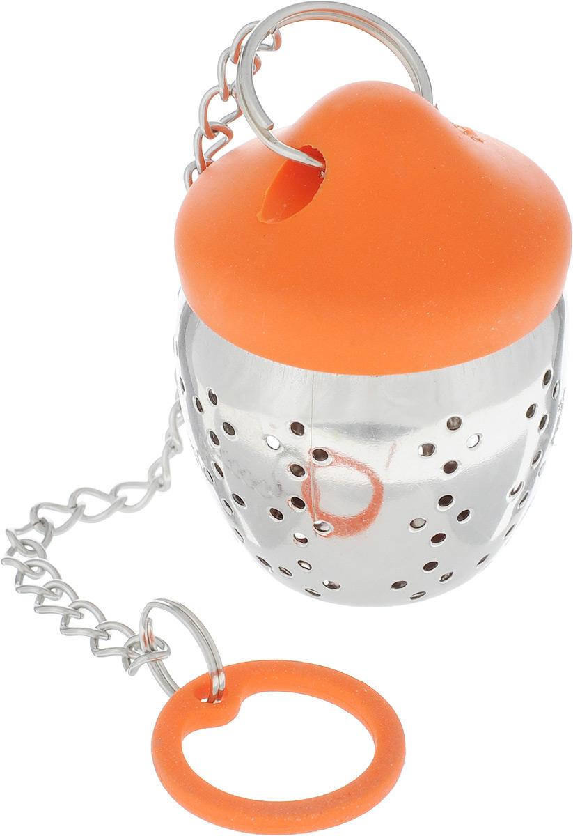 Ситечко для заваривания чая Mayer & Boch, цвет: оранжевый21952-3Ситечко для заваривания чая поможет быстро и вкусно заварить ваш любимый чайпрямо в чашке. Ситечко изготовлено из нержавеющей стали и силикона. Плотнозакрывающаяся створка ситечка обеспечивают комфорт во время использования.Изделие отлично сбалансировано - ситечко плавает, а силиконовая крышкасвободно висит на чашке.Размер ситечка: 4,5 см х 3,5 см. Длина ситечка (с ручкой): 19 см.