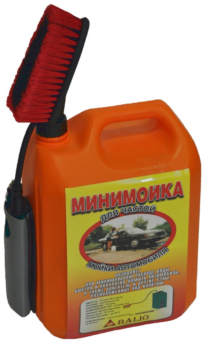"""Минимойка """"Балио"""", работающая от прикуривателя - быстрый, надежный, аккуратный и   экономный способ вымыть автомобиль, его двигатель и различные узлы, спрятанные под   капотом. Автомобиль можно мыть и в зимний период.   Характеристики: - Мотор-насос вмонтирован в пластиковую емкость объемом 20 литров; - Сбоку емкости имеется приспособление (""""карман""""), куда прячется щетка и вокруг которого   наматывается шнур; - Шланг помещен внутри емкости; - Для мойки используется вода (температура воды не выше 45°С), в которую можно добавить   любую моющую жидкость; - На рукоятке удобно расположена специальная кнопка включения; - Калиброванное отверстие на рукоятке позволяет получить тонкую струю воды, вылетающую   на расстояние до 5 метров, создающую определённый напор и одновременно ограничивающую   расход воды; - На рукоятку навинчивается щетка и вода поступает на моющуюся поверхность через щетку,   котора позволяет быстро и аккуратно помыть автомобиль, при этом самому не испачкаться в   процессе мойки; - Шланг минимойки изготовлен из специального каучука и остается мягким и эластичным даже   при отрицательной температуре воздуха; - Специально подобранный электропровод, благодаря резиновым уплотнениям автомобиля,   спокойно проходит между дверью и кузовом; - В устройстве применяется штекер с предохранителем, защищающим электропроводку   автомобиля при коротком замыкании.  Технические характеристики: - питание: постоянный ток, - напряжение - 12 В, - номинальный потребляемый ток - 4 А, - номинальный расход воды - 25 мл/с, - давление при расходе воды равном нулю - 25 кг/см2, - температура воды - до 45°С, - режим работы - повторно-кратковременный, - длина шланга - 3 м, - длина провода электропитания - 4 м.  УВАЖАЕМЫЕ КЛИЕНТЫ!  Обращаем ваше внимание на цветовой ассортимент щеток. Поставка осуществляется в зависимости от наличия на складе.    Как выбрать мойку высокого давления. Статья OZON Гид"""