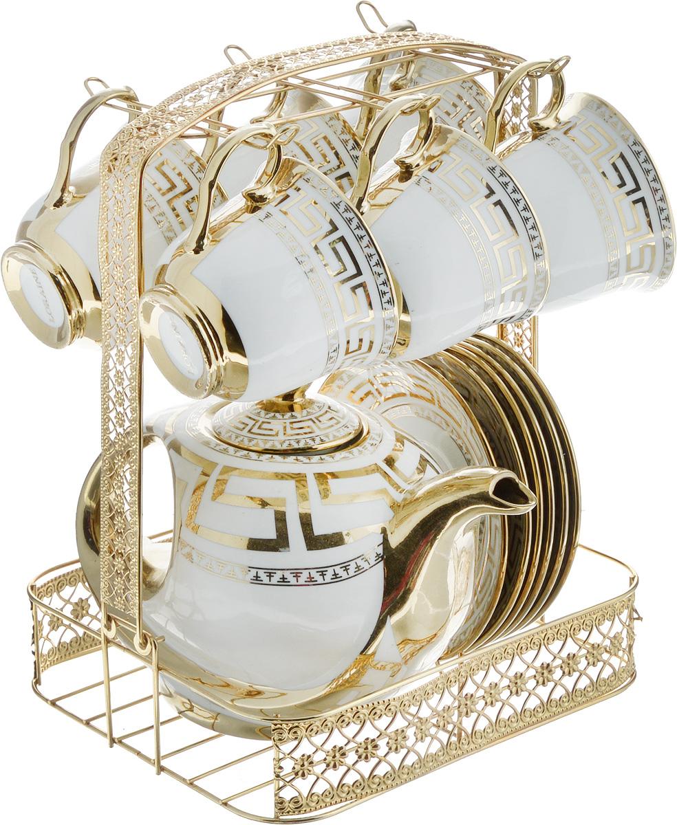 Набор чайный Loraine, на подставке, 14 предметов. 2667026670Чайный набор Loraine состоит из 6 чашек, 6 блюдец, заварочного чайника и подставки. Посуда изготовлена из качественной глазурованной керамики и оформлена оригинальным орнаментом. Блюдца и чашки имеют классическую круглую форму. Все предметы располагаются на удобной металлической подставке со съемной ручкой. Чайный набор Loraine идеально подойдет для сервировки стола и станет отличным подарком к любому празднику. Можно использовать в холодильнике и и мыть в посудомоечной машине. Объем чашки: 220 мл. Диаметр чашки (по верхнему краю): 8,7 см. Высота чашки: 7,3 см. Диаметр блюдца: 13,5 см. Высота блюдца: 2 см.Объем чайника: 950 мл. Размер чайника (с учетом ручки, носика и крышки): 21 х 12,5 х 15,5 см. Размер подставки (с учетом ручки): 21 х 18 х 26,5 см.