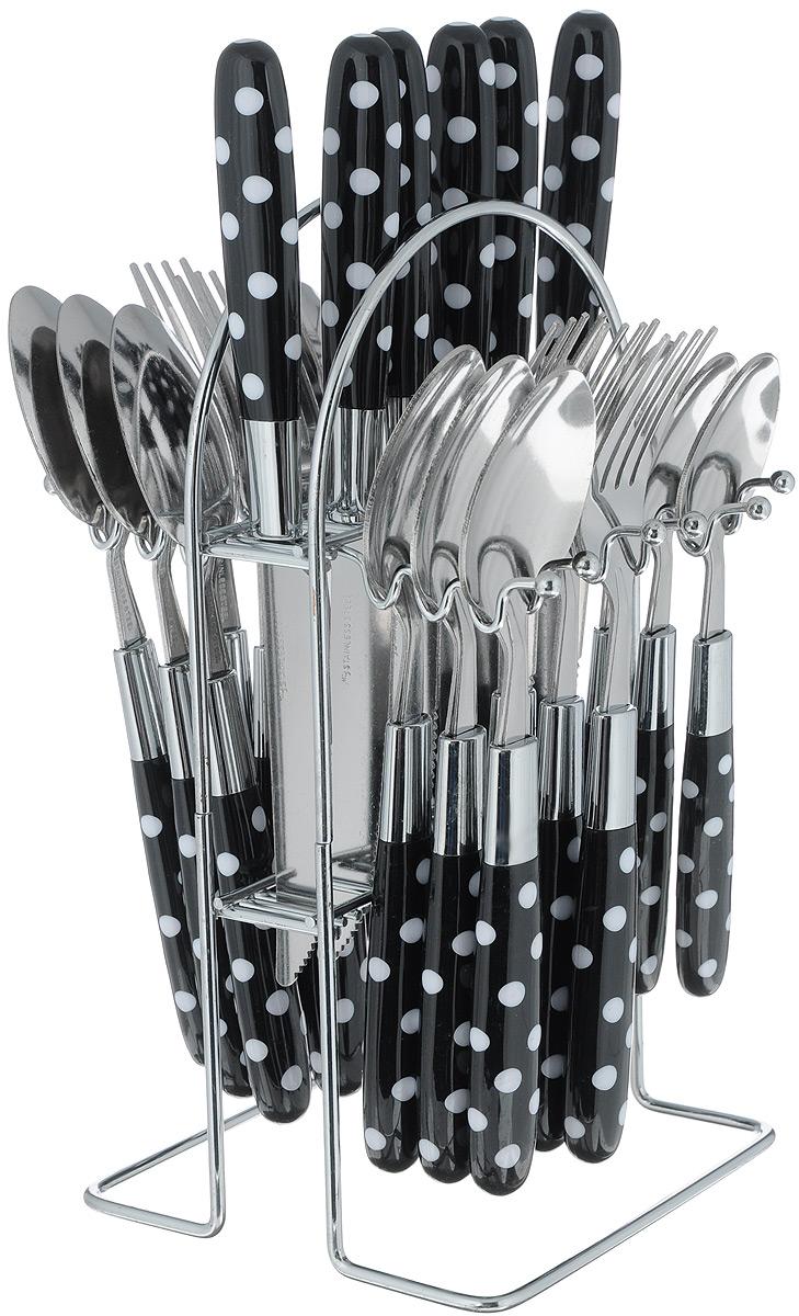 Набор столовых приборов Mayer&Boch, цвет: черный, белый, стальной, 25 предметов. 2249022490_черныйНабор столовых приборов Mayer & Boch включает 6 столовых ножей, 6 столовых ложек, 6 столовых вилок, 6 чайных ложек и подставку. Приборы выполнены из высококачественной нержавеющей стали и снабжены пластиковыми ручками с оригинальным дизайном. Прекрасное сочетание свежего дизайна и удобство использования предметов набора придется по душе каждому. Набор столовых приборов Mayer & Boch подойдет для сервировки стола как дома, так и на даче и всегда будет важной частью трапезы, а также станет замечательным подарком. Длина ножей: 21,5 см. Длина столовых ложек: 19,5 см.Длина вилок: 20 см. Длина чайных ложек: 16,5 см. Размер подставки: 13 х 13 х 24 см.