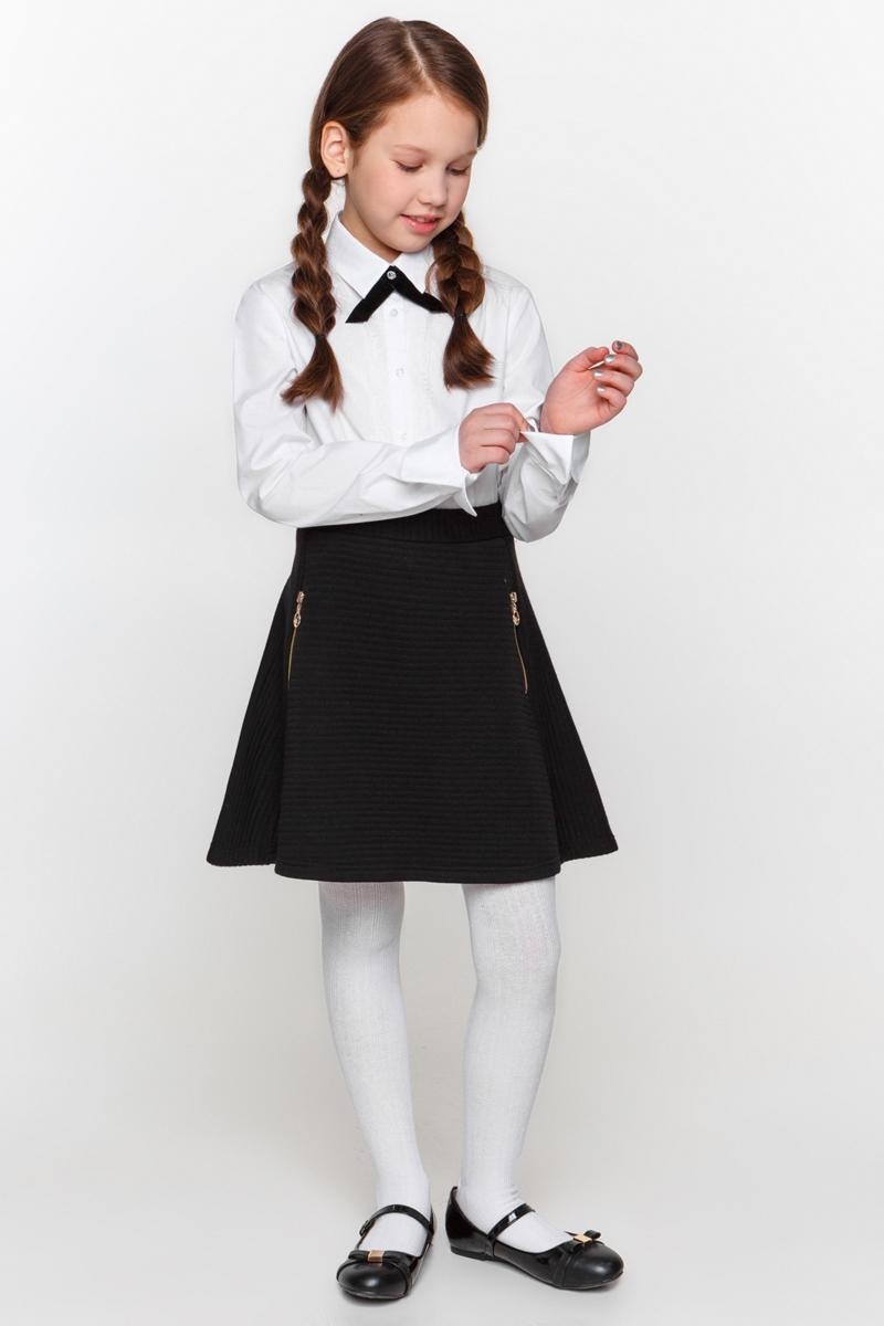 Блузка для девочки Overmoon by Acoola Kara, цвет: белый. 21200260007_200. Размер 14021200260007_200Блузка для девочки Luhta Kara выполнена из высококачественного материала. Модель прямого кроя с отложным воротником и длинными рукавами застегивается на пуговицы.