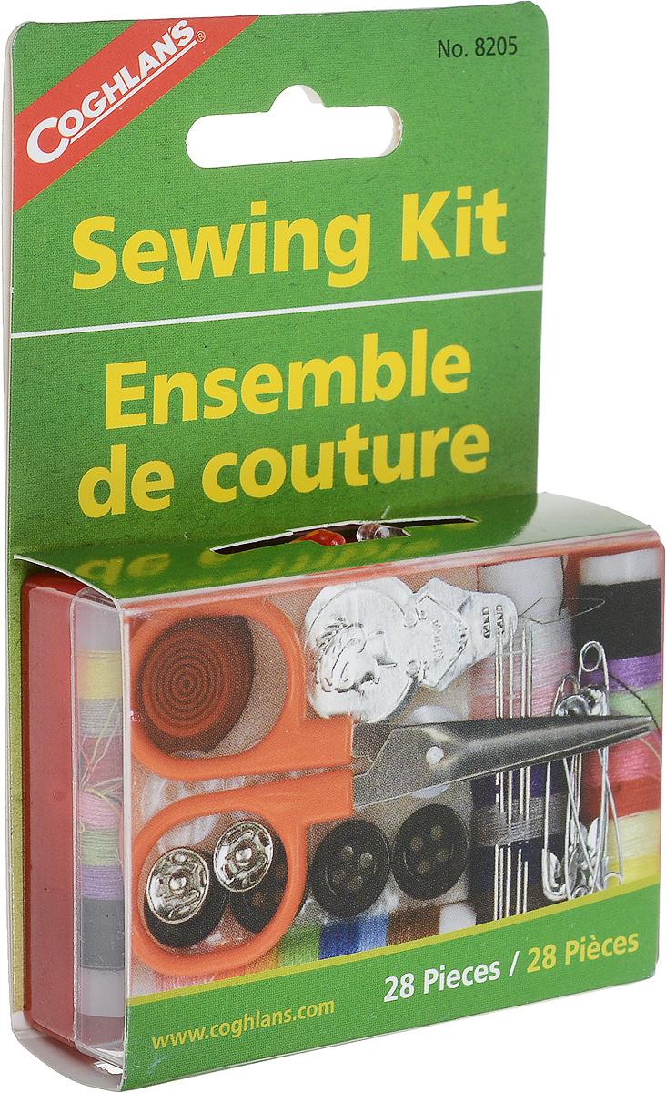 Набор швейный Coghlans010-01199-23Походный швейный набор Coghlans в компактном футляре из плотного полиэтилена. Содержит все необходимое для ремонта одежды и снаряжения в полевых условиях. Комплектация набора: -Ножницы; -5 иголок; -5 английских булавок; -2 прямых булавки; -8 пуговиц; -2 кнопки для одежды; -Нитки в ассортименте цветов (45 метров); -Нитковдеватель; -Наперсток.