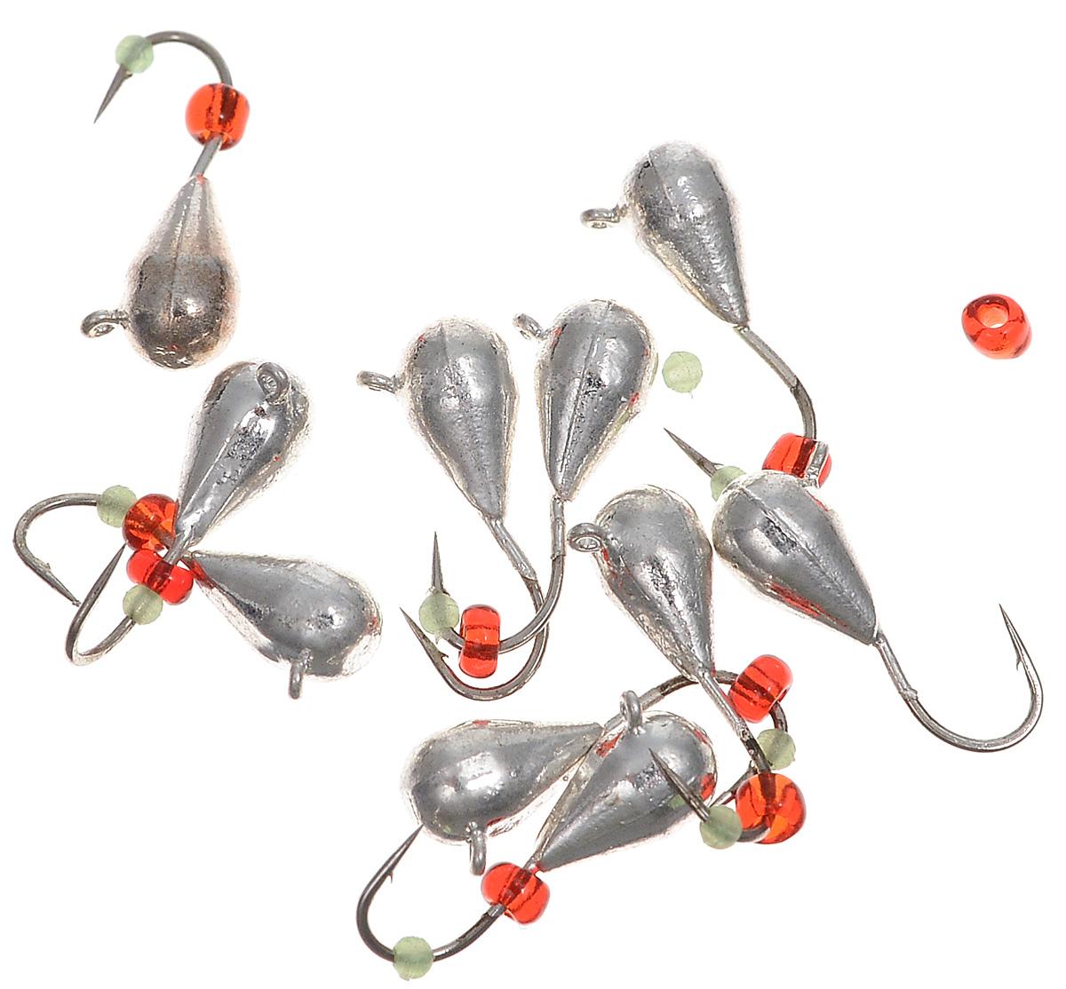 Мормышка вольфрамовая Dixxon-Russia, капля с ушком, цвет: серебряный, диаметр 4 мм, 1 г, 10 шт