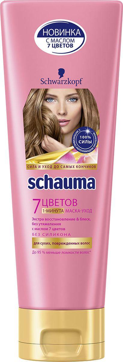 Schauma 1-минута Маска-уход 7 Цветов, 200 мл0902204911-минута маска уход Экстра восстановление & блеск, без утяжеления с маслом 7 цветов- Действует уже после 1 минуты применения- Восстанавливает структуру волоса во всех слоях, без утяжеления- До 95 % меньше ломкости волос** по сравнению с необработанными волосами