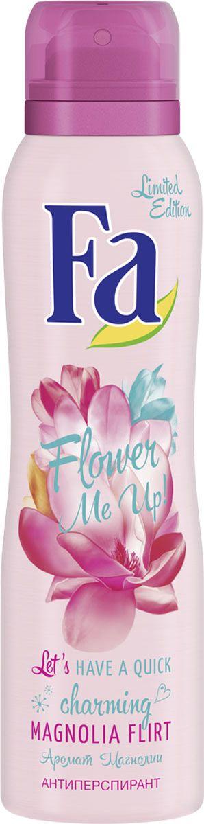 Fa Аэрозоль антиперспирант Flower Me Up Магнолия1208368571АРОМАТ МАГНОЛИИ• Эффективная защита от запаха пота• 0 % солей алюминия• Длительная свежестьОткройте для себя део-защиту на 48 часов с восхитительными нотами пурпурной лилии для прелестного аромата вашей кожи.