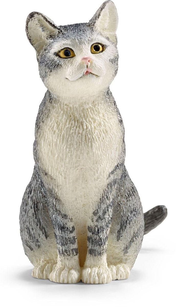Schleich Фигурка Кошка цвет серый белый schleich фигурка карликовый козел