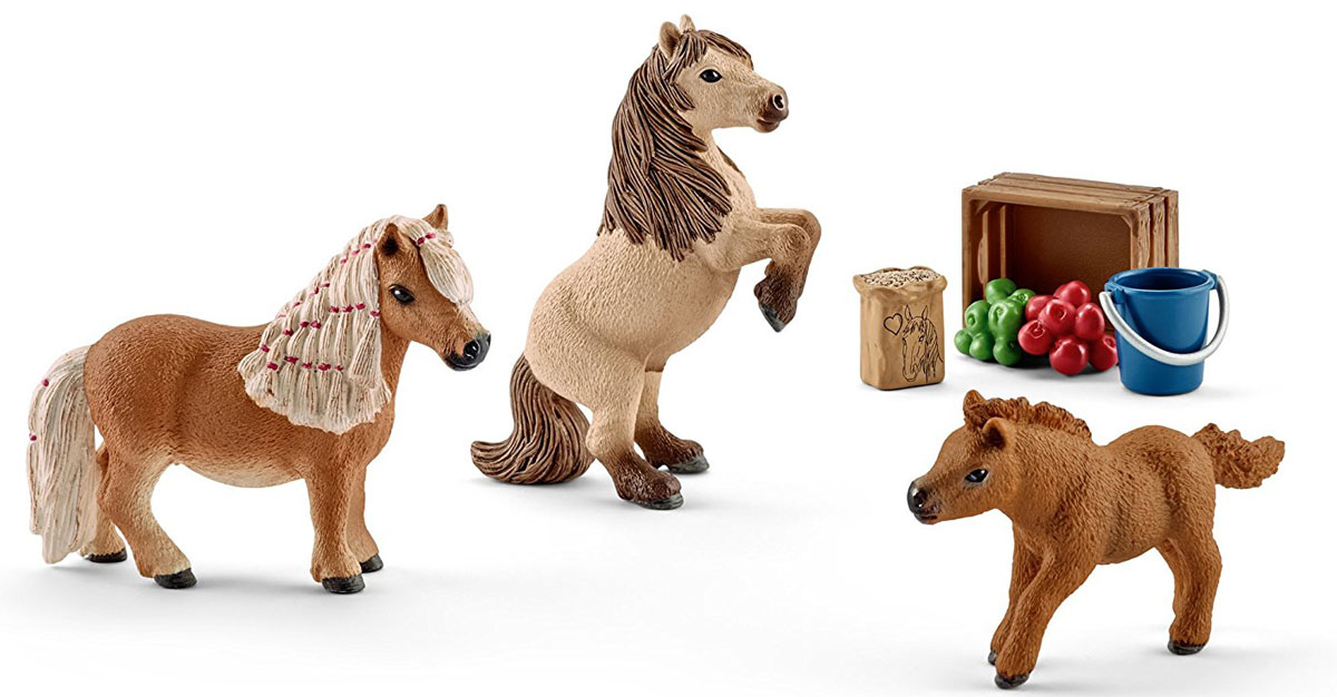 Schleich Набор фигурок Семья Шотландского пони 3 шт конюх и исландский пони schleich