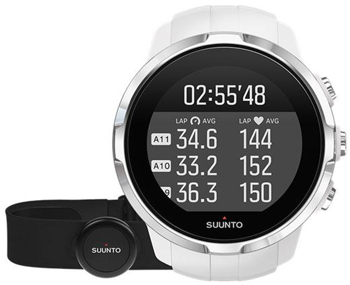 Часы спортивные Suunto Spartan Sport HR, цвет: белыйSS022650000Спортивные часы Suunto Spartan Sport HR — это продвинутые GPS-часы для мультиспорта с утонченным дизайном, цветным сенсорным экраном, водонепроницаемостью до 100 м и компасом, работающие до 16 ч в режиме тренировки. 80 предустановленных спортивных режимов и конкретные показатели по видам спорта делают Spartan Sport вашим идеальным партнером для тренировок. Отслеживайте достижения и личные рекорды. Оптимизируйте тренировки, опираясь на анализ данных сообщества. Открывайте новые маршруты в Suunto Movescount с помощью тепловых карт, пусть часы ведут вас по маршруту. Часы Spartan Sport сделаны в Финляндии. Их надежный и утонченный дизайн специально оптимизирован для условий соревнований. Особенности: Водонепроницаемость до глубины 100 м / 300 фт 10 часов работы от батареи на полной мощности при фиксированном интервале опроса GPS (1 с) для максимально точной GPS-навигации 16 часов работы от батареи в режиме экономии энергии при фиксированном интервале опроса GPS (1 с) для достаточно точной GPS-навигации Защищенный цветной сенсорный экран с тремя кнопками GPS/GLONASS для навигации по маршруту и определения расположения следование маршруту в реальном времени с маршрутом и точками POIGPS используется для отслеживания набора или снижения высоты в тренировке Цифровой компас с компенсацией склоненияДополнительные функции:Измерение частоты сердцебиения, оценка потраченных калорий, максимальной эффективности тренировки и времени восстановления Поддержка более 80 видов спорта в режимах соревнований и интервальной тренировки Режим триатлона и мультиспорта Настройка интервальных тренировок на часахБег: таблица пройденных этапов со сведениями о темпе бега и частоте сердцебиения; точное измерение темпа с технологией FusedSpeed™ поддержка датчика Stryd для оценки затрат мощности при беге Велосипедная гонка: таблицы этапов в реальном времени с пульсом, мощностью и скоростью поддержка измерителей мощности Suunto Bike Sensor 