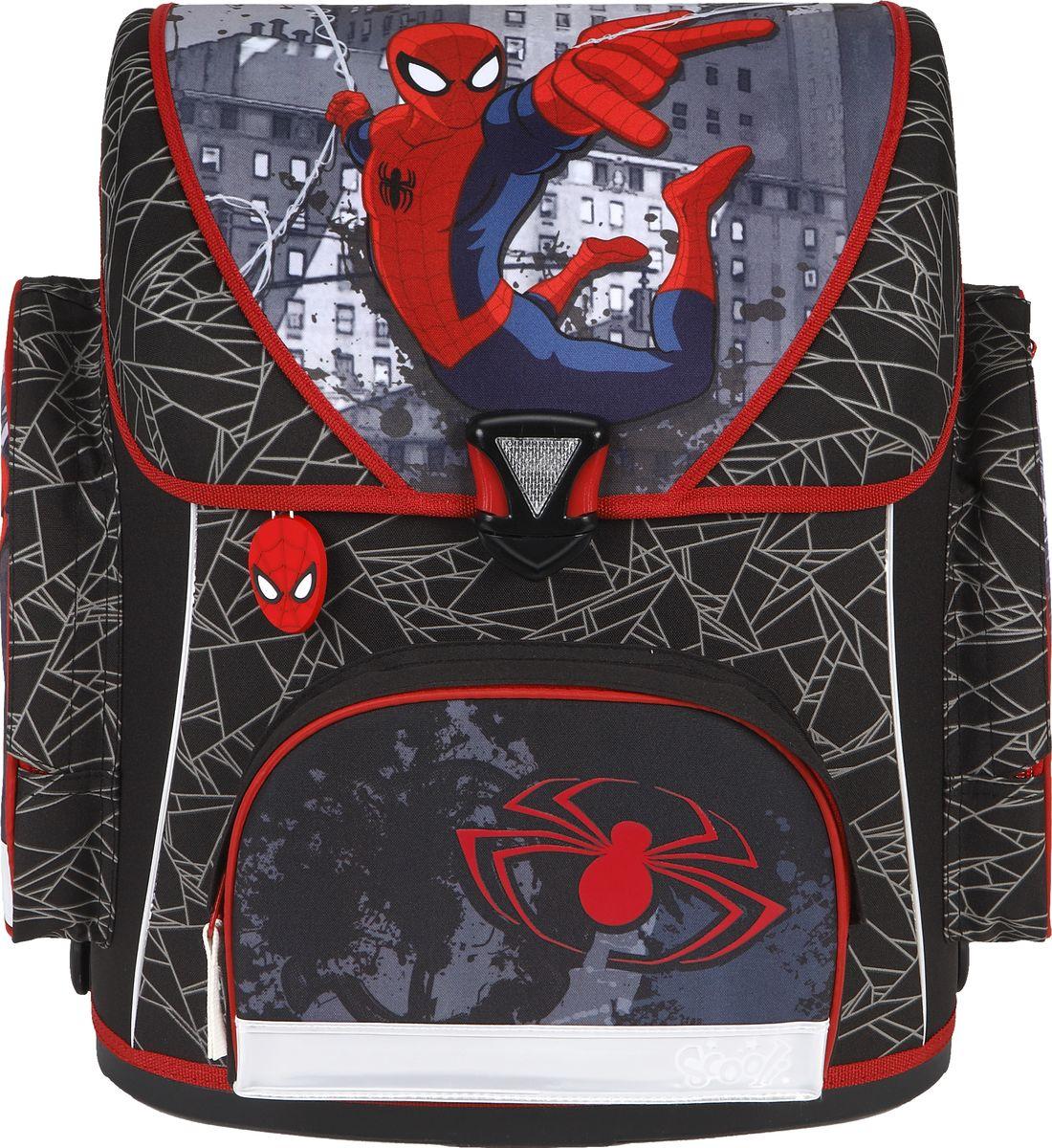 Scooli Ранец школьный Spider-ManSP13823Школьный ранец Scooli Spider-Man - универсальная модель, которая подойдет как для учеников первого класса, так и для школьников до четвертого класса.Ранец имеет мягкую спинку с воздухообменной сеткой, регулируемые лямки с системой вентиляции, ручку для переноски в руках или подвешивания на парту. На лицевой стороне ранца находится карман на молнии, по бокам - два кармана на молниях. Изделие имеет вместительное отделение, закрывающееся на защелку со встроенным светоотражателем. Внутри отделения располагаются органайзер (кармашек для мобильного телефона, карман, карман на молнии, карабин для ключей, 2 кармана для документов формата А4), разделители на липучке для тетрадей. На дне рюкзака находятся четыре 4 прорезиненные подставки.