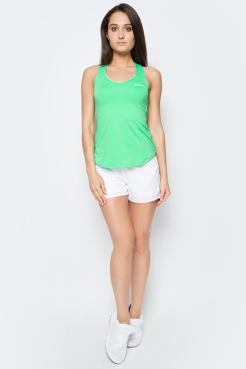 Майка для тенниса женская Nike Nkct Pure Tank, цвет: зеленый. 728739-300. Размер M (44/46)728739-300Женская теннисная майка от Nike выполнена из мягкой ткани Dri-FIT, которая отводит влагу от кожи, оставляет тело сухим и обеспечивает комфорт. Т-образная спина обеспечивает естественность движений во время игры на корте.Горловина с V-образным вырезом для удобной посадки.