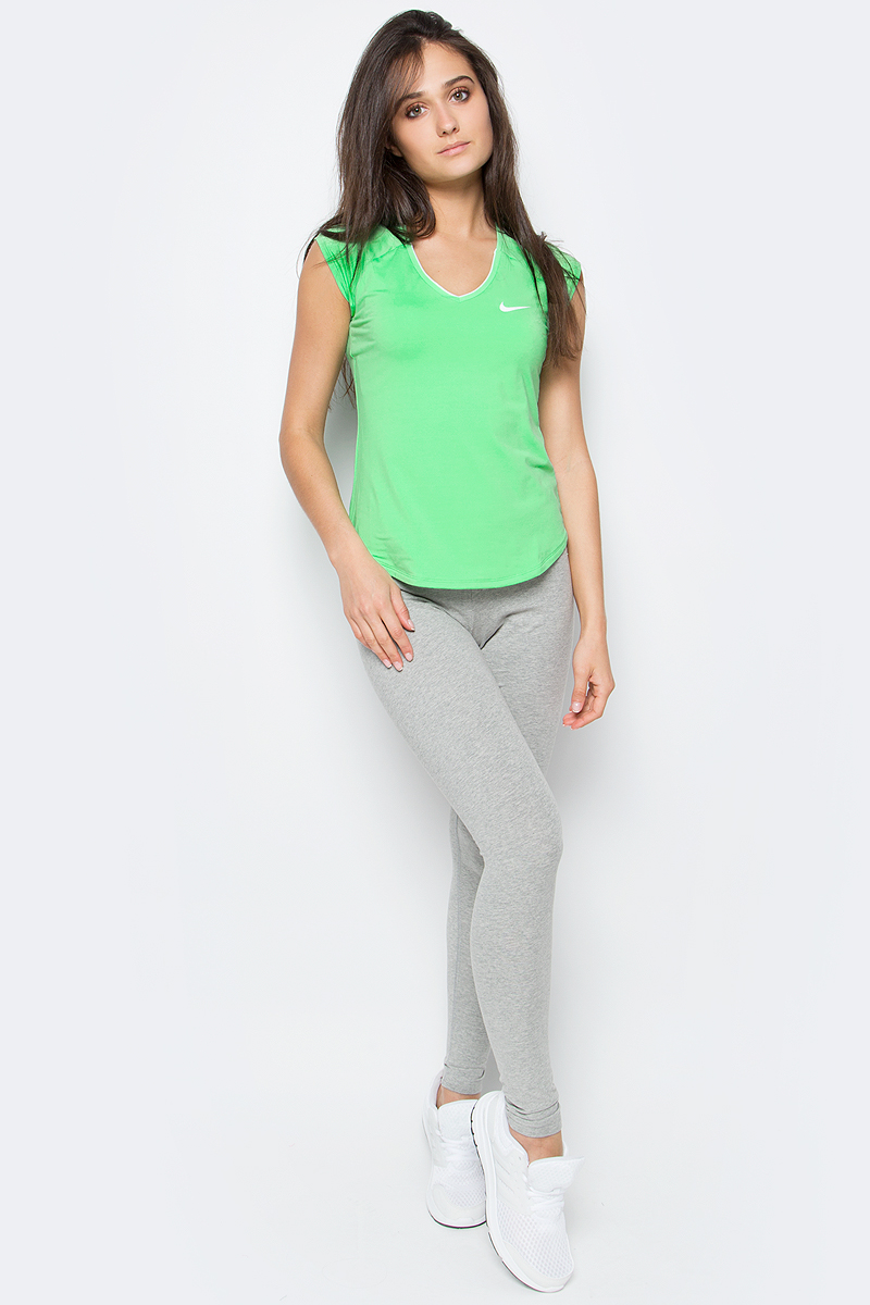 Футболка женская Nike Pure Top, цвет: зеленый. 728757-300. Размер XS (40/42)728757-300Женская футболка для тенниса Pure Top от Nike выполнена из мягкого текстиля Dri-Fit, отводящего влагу от поверхности тела, сохраняющего тело сухим. Модель прилегающего кроя с короткими рукава-реглан и V-образным вырезом горловины оформлена фирменным логотипом.