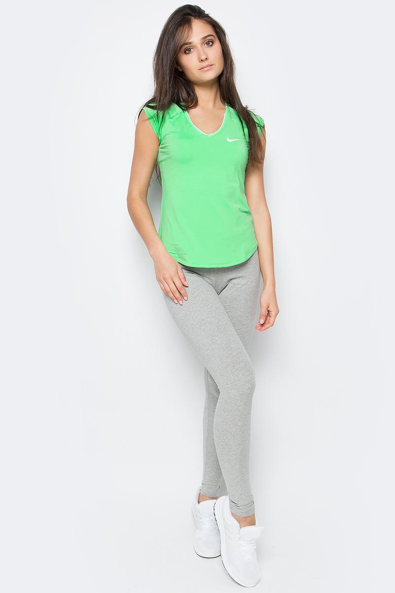 Футболка женская Nike Pure Top, цвет: зеленый. 728757-300. Размер XS (40/42) футболка для фитнеса женская asics layering top цвет серый 136042 0718 размер xs 40 42
