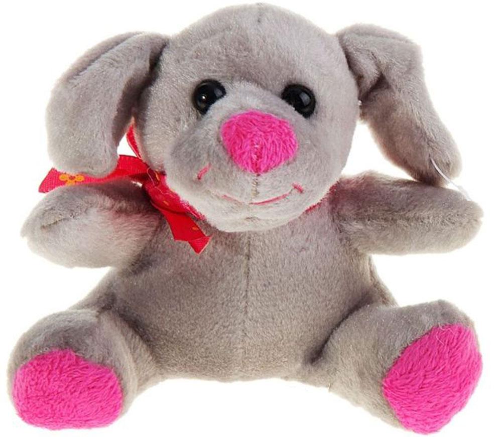 Sima-land Мягкая игрушка Собачка с бантиком цвет серый 8 см