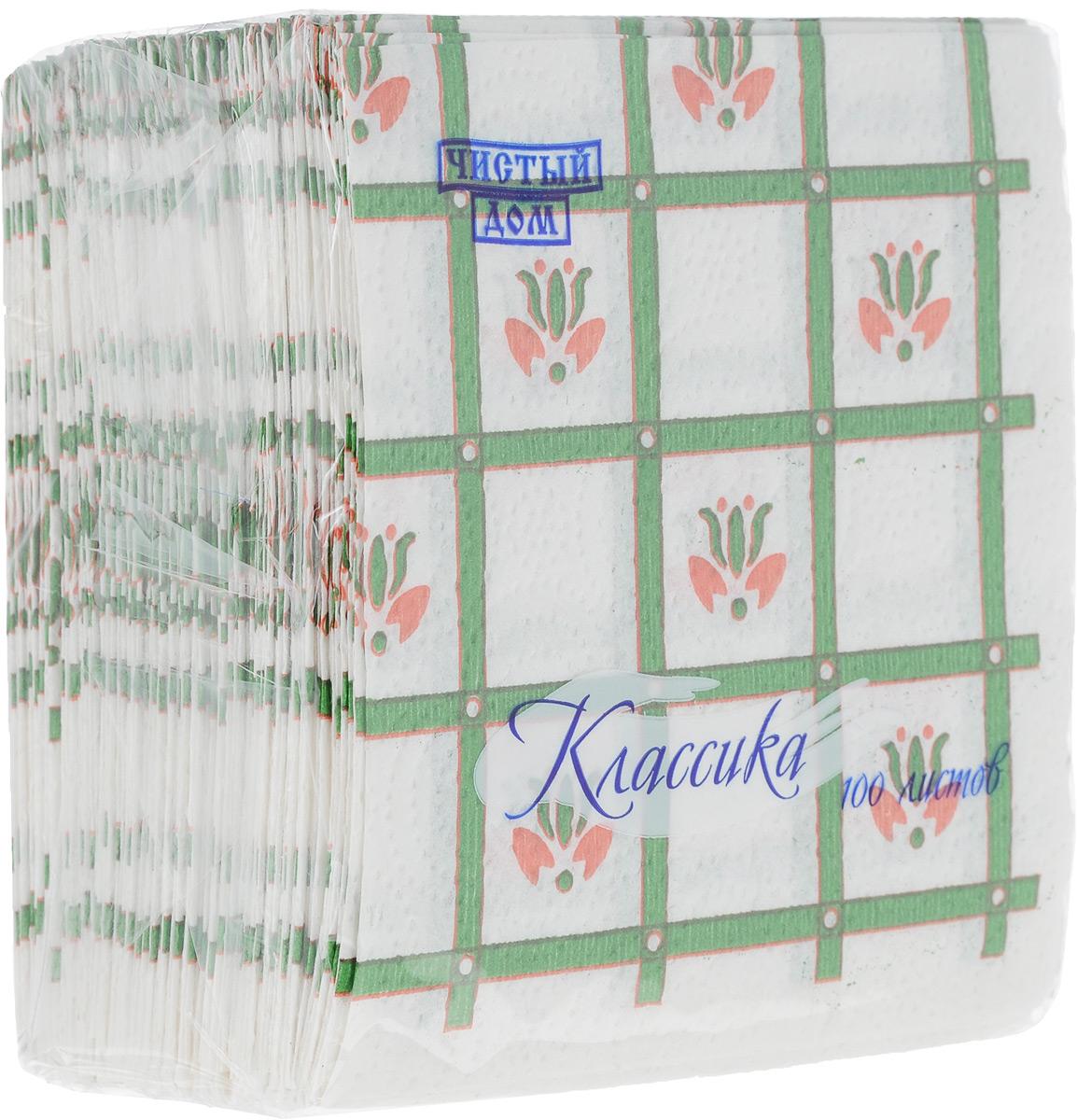 Салфетки бумажные Чистый дом Классика. Крупная клетка, однослойные, цвет: белый, зеленый, красный, 25 х 25 см, 100 шт4606920000043_зеленый, коричневыйОднослойные салфетки Чистый дом Классика. Крупная клетка выполнены из 100% целлюлозы. Салфетки подходят для косметического, санитарно-гигиенического и хозяйственного назначения. Нежные и мягкие, но в то же время прочные. Салфетки дополнены тиснением и ярким рисунком.Размер салфеток: 25 х 25 см.