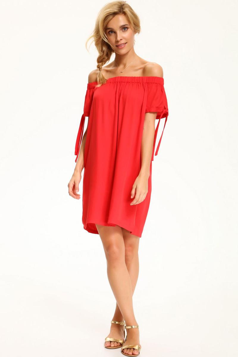 Платье Top Secret, цвет: красный. SSU1893CE. Размер 38 (46)SSU1893CEЯркое платье Top Secret изготовлено из вискозы. Модель с вырезом Анжелика имеет короткие рукава.