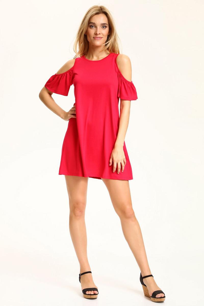 Платье Top Secret, цвет: красный. SSU1846RO. Размер 42 (50)SSU1846ROЯркое платье Top Secret изготовлено из вискозы и полиэстера. Модель имееткруглый вырез горловины и короткие рукава.
