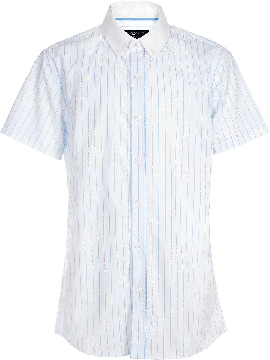 Рубашка мужская oodji Lab, цвет: голубой, белый. 3L210005M/19370N/7010F. Размер 39-182 (46-182)3L210005M/19370N/7010FМужская рубашка oodji выполнена из натурального хлопка. Модель с короткими рукавами и отложным воротником застегивается на пуговицы. Воротник с пуговицами на углах придает рубашке элегантности. Натуральный хлопок приятен на ощупь, не раздражает кожу, дышит.