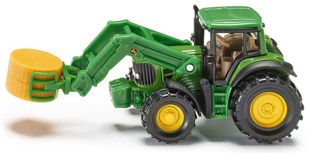 Siku Трактор John Deere с кипоукладчиком машины tomy трактор john deere 6830